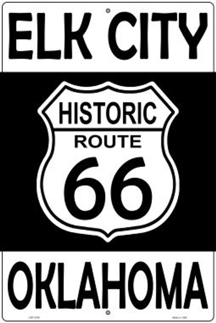 Elk City Oklahoma Historic Route 66 Novelty Metal Large Parking Sign LGP-2786