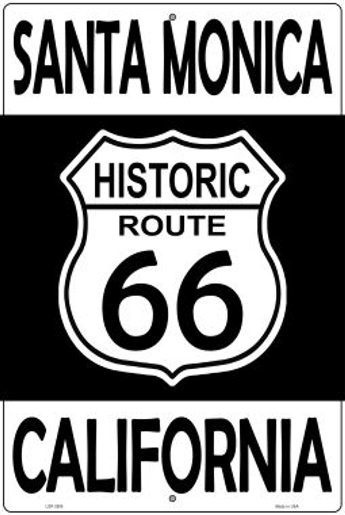 Santa Monica California Historic Route 66 Novelty Metal Large Parking Sign LGP-2808