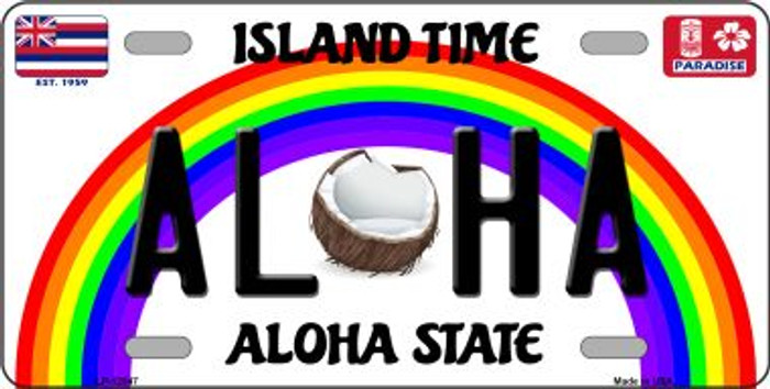 Aloha Coconut Novelty Metal License Plate LP-12547