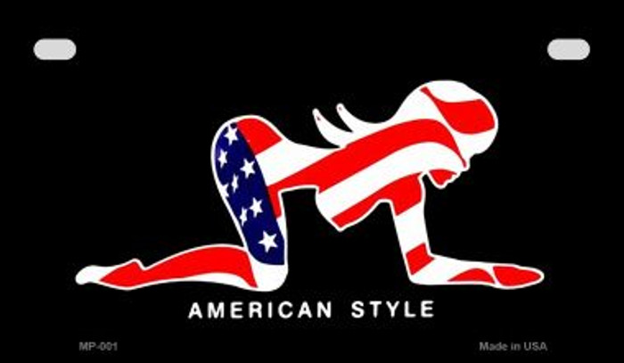American Style Sexy Flag Pose Novelty Metal Motorcycle Plate MP-001
