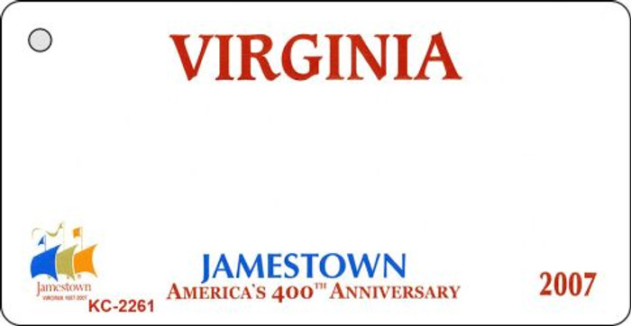 Virginia State Background Blank Novelty Metal Key Chain KC-2261