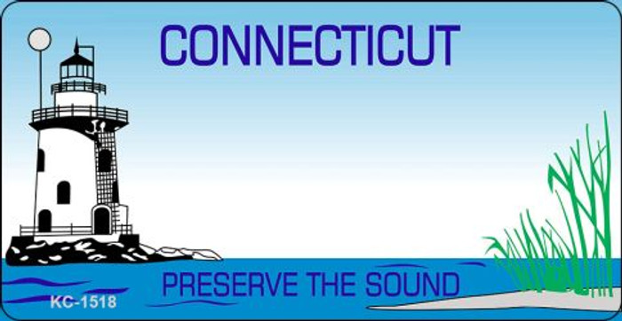 Connecticut State Background Blank Novelty Metal Key Chain KC-1518