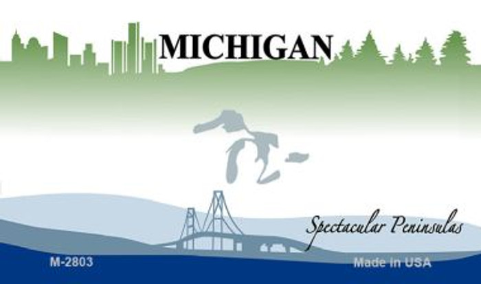 Michigan State Background Blank Novelty Metal Magnet M-2803