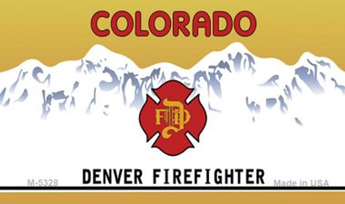 Colorado Denver Firefighter State Background Blank Novelty Metal Magnet M-5328