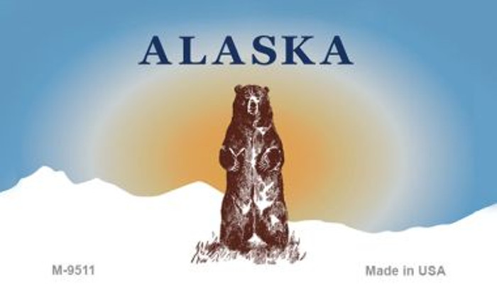 Alaska Bear State Background Blank Novelty Metal Magnet M-9511