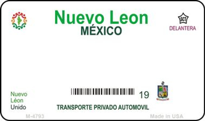 Nuevo Leon Mexico Blank Background Novelty Metal Magnet M-4793
