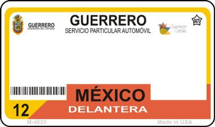 Guerrero Mexico Blank Background Novelty Metal Magnet M-4820