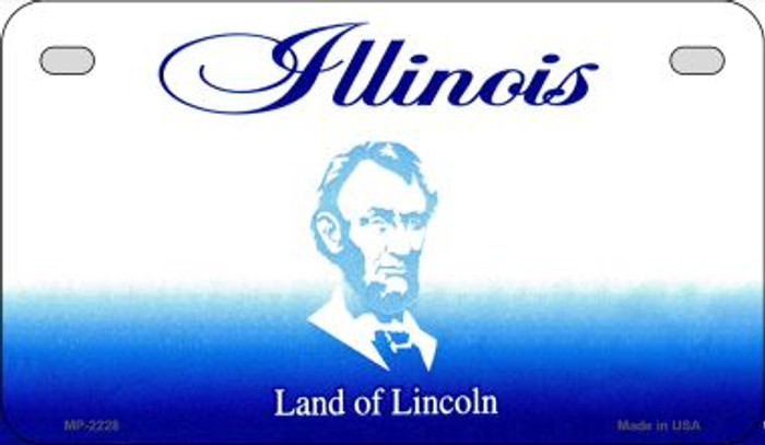 Illinois State Background Blank Novelty Metal Motorcycle Plate MP-2228