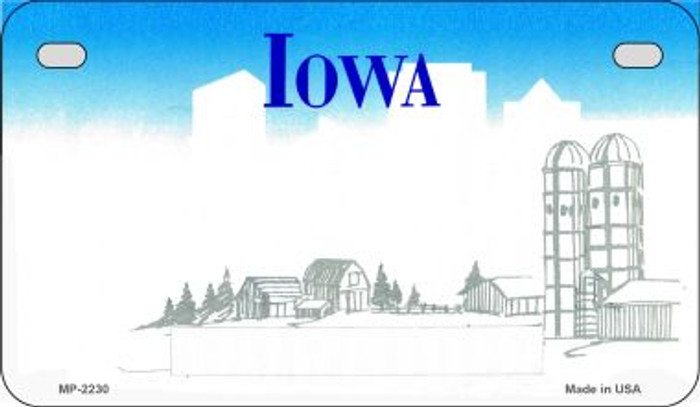 Iowa State Background Blank Novelty Metal Motorcycle Plate MP-2230