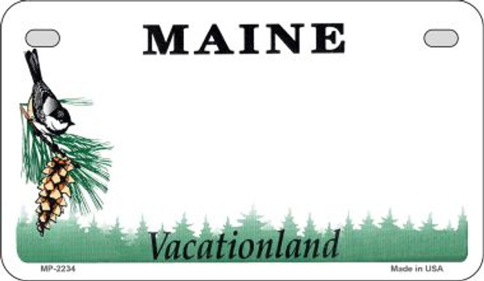 Maine State Background Blank Novelty Metal Motorcycle Plate MP-2234
