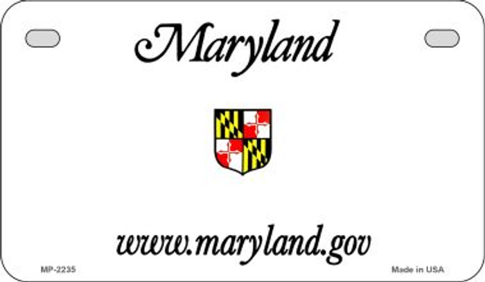 Maryland State Background Blank Novelty Metal Motorcycle Plate MP-2235