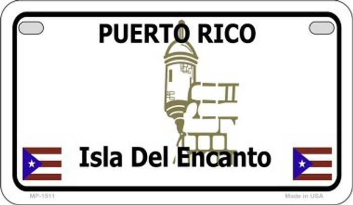 Puerto Rico Blank Background Novelty Metal Motorcycle Plate MP-1511