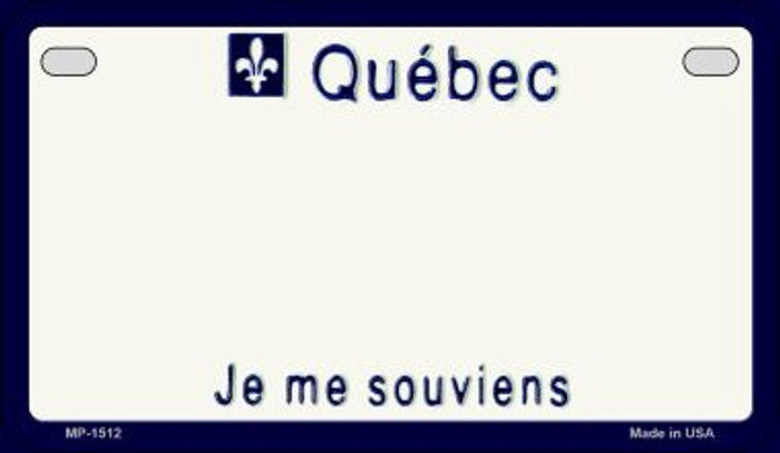 Quebec Blank Background Novelty Metal Motorcycle Plate MP-1512