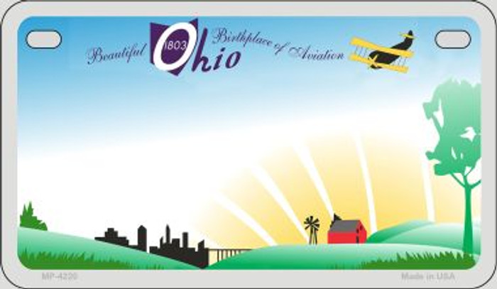 Ohio State Background Blank Novelty Metal Motorcycle Plate MP-4220