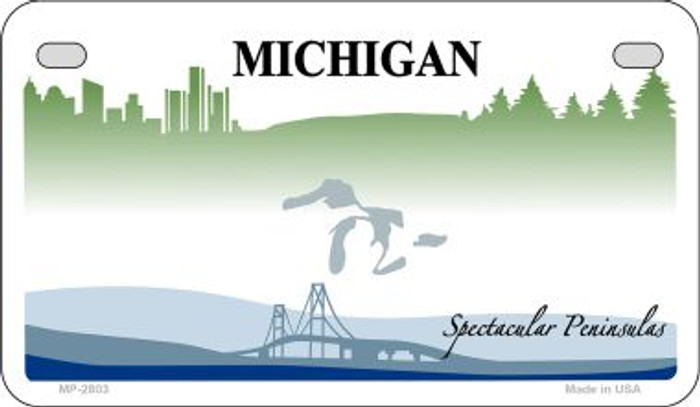 Michigan State Background Blank Novelty Metal Motorcycle Plate MP-2803