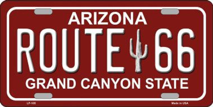 Route 66 Arizona Red Novelty Metal License Plate