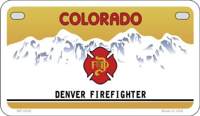 Colorado Denver Firefighter State Background Blank Novelty Metal Motorcycle Plate MP-5328