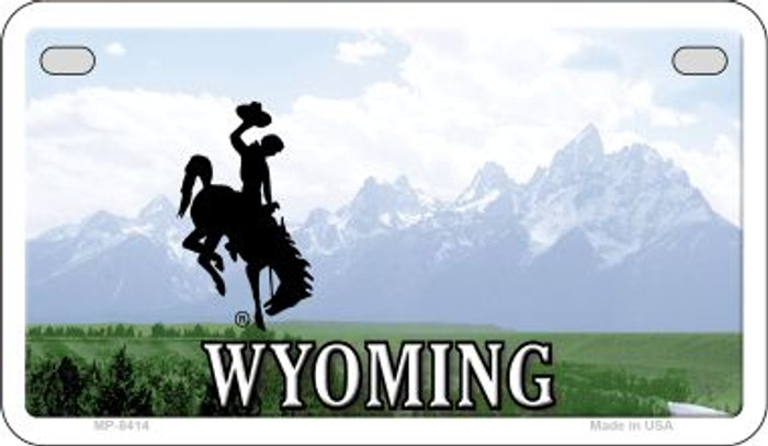 Wyoming State Background Blank Novelty Metal Motorcycle Plate MP-8414
