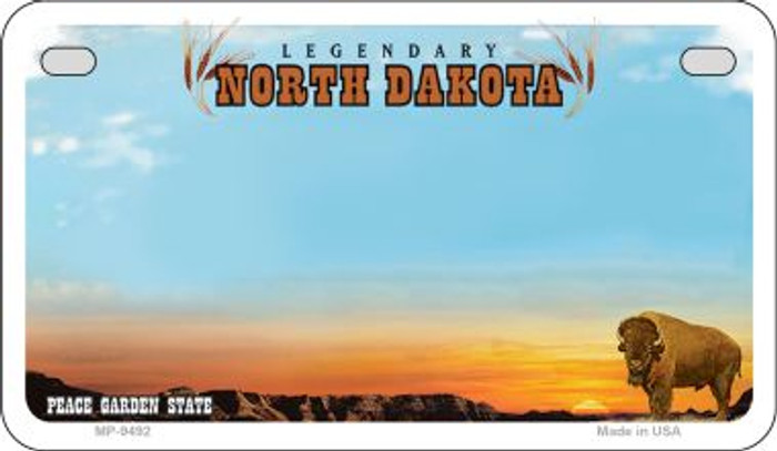 North Dakota State Background Blank Novelty Metal Motorcycle Plate MP-9492
