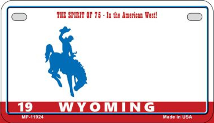 Wyoming State Background Blank Novelty Metal Motorcycle Plate MP-11924