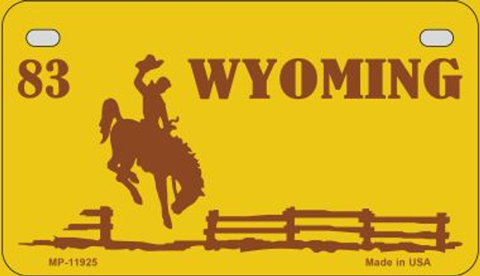 Wyoming Yellow State Background Blank Novelty Metal Motorcycle Plate MP-11925