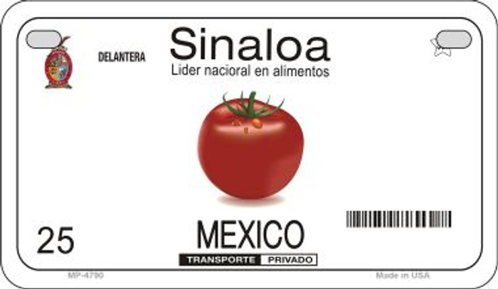 Sinaloa Mexico Blank Background Novelty Metal Motorcycle Plate MP-4790