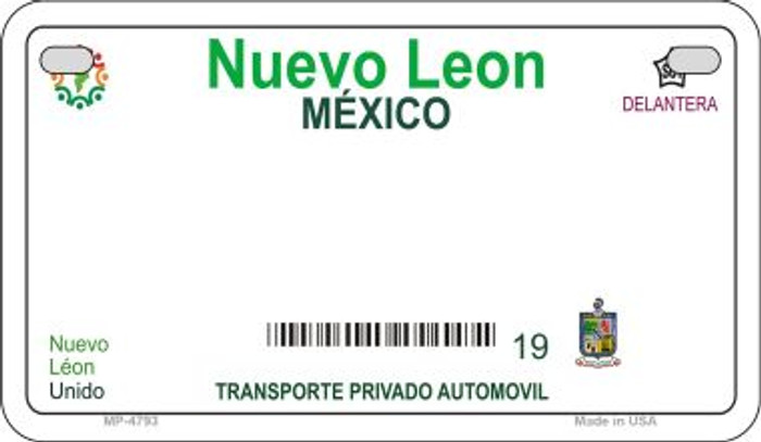 Nuevo Leon Mexico Blank Background Novelty Metal Motorcycle Plate MP-4793