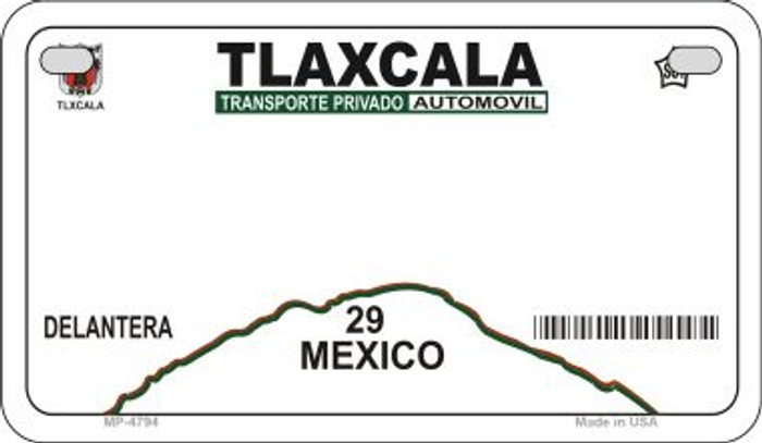 Tlaxcala Mexico Blank Background Novelty Metal Motorcycle Plate MP-4794