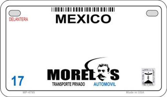 Morelos Mexico Blank Background Novelty Metal Motorcycle Plate MP-4795