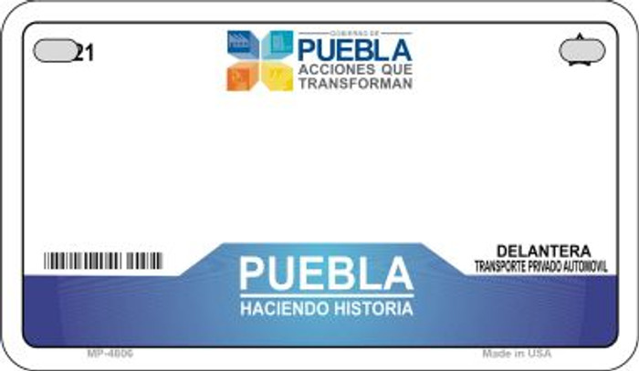 Puebla Mexico Blank Background Novelty Metal Motorcycle Plate MP-4806