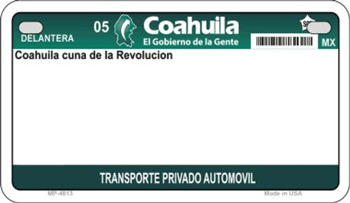 Coahuila Mexico Blank Background Novelty Metal Motorcycle Plate MP-4813
