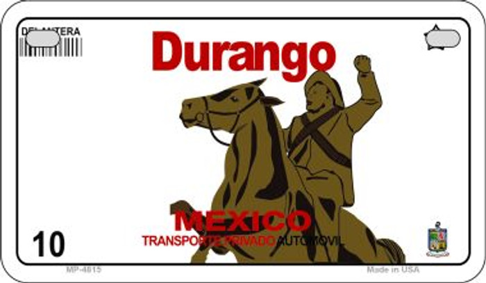 Durango Mexico Blank Background Novelty Metal Motorcycle Plate MP-4815