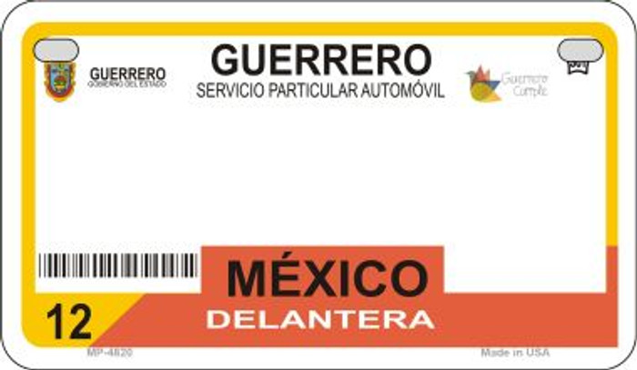 Guerrero Mexico Blank Background Novelty Metal Motorcycle Plate MP-4820