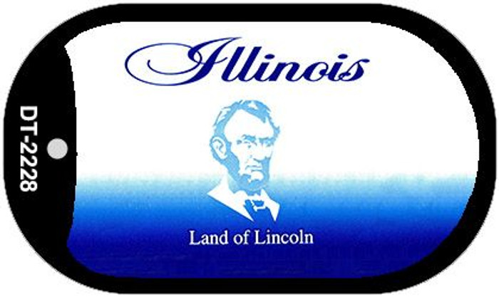 Illinois State Background Blank Novelty Metal Dog Tag Necklace DT-2228