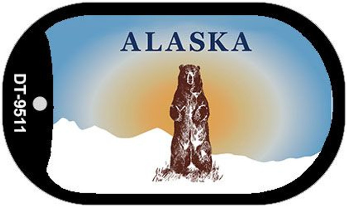 Alaska Bear State Background Blank Novelty Metal Dog Tag Necklace DT-9511