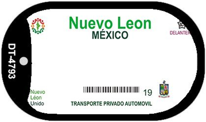 Nuevo Leon Mexico Blank Background Novelty Metal Dog Tag Necklace DT-4793