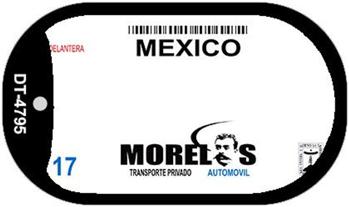 Morelos Mexico Blank Background Novelty Metal Dog Tag Necklace DT-4795