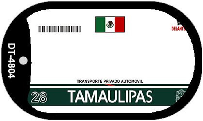 Tamaulipas Mexico Blank Background Novelty Metal Dog Tag Necklace DT-4804