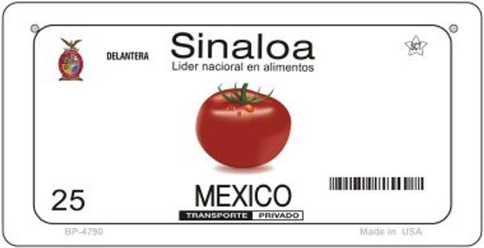 Sinaloa Mexico Blank Background Novelty Metal Bicycle Plate BP-4790