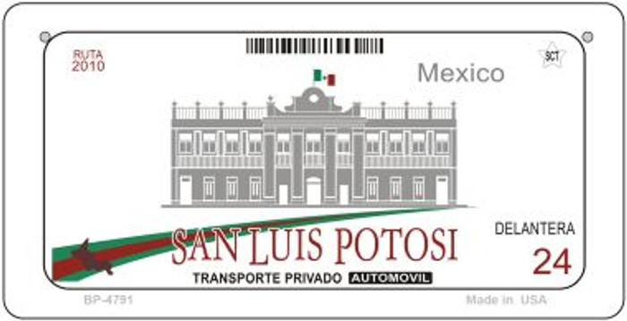 San Luis Potosi Mexico Blank Background Novelty Metal Bicycle Plate BP-4791