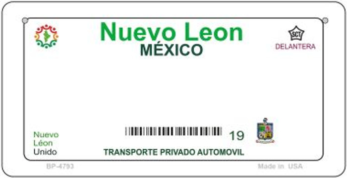 Nuevo Leon Mexico Blank Background Novelty Metal Bicycle Plate BP-4793