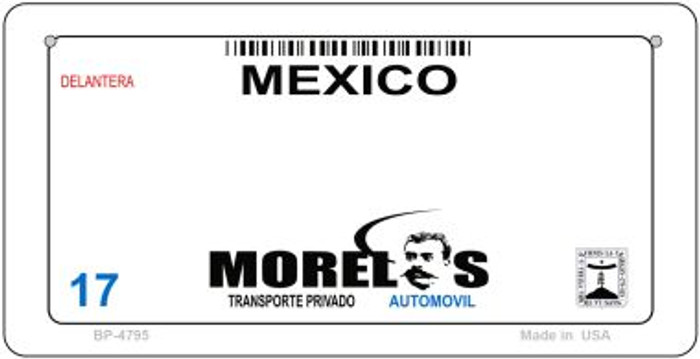 Morelos Mexico Blank Background Novelty Metal Bicycle Plate BP-4795