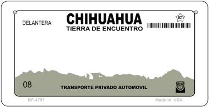 Chihuahua Mexico Blank Background Novelty Metal Bicycle Plate BP-4767