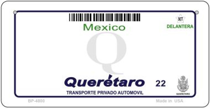 Queretaro Mexico Blank Background Novelty Metal Bicycle Plate BP-4800