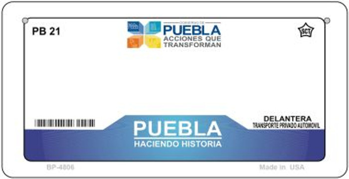 Puebla Mexico Blank Background Novelty Metal Bicycle Plate BP-4806