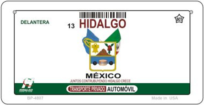 Hidalgo Mexico Blank Background Novelty Metal Bicycle Plate BP-4807