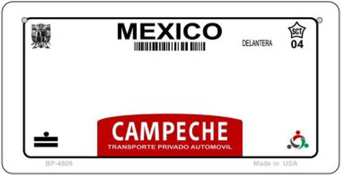 Campeche Mexico Blank Background Novelty Metal Bicycle Plate BP-4809