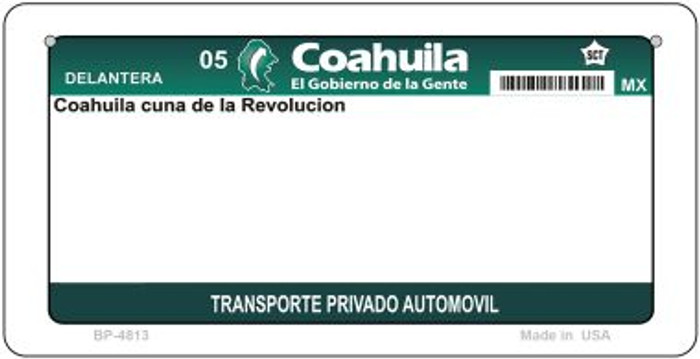 Coahuila Mexico Blank Background Novelty Metal Bicycle Plate BP-4813