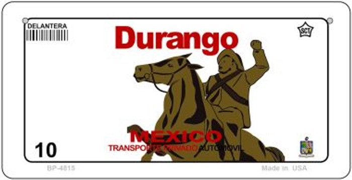 Durango Mexico Blank Background Novelty Metal Bicycle Plate BP-4815