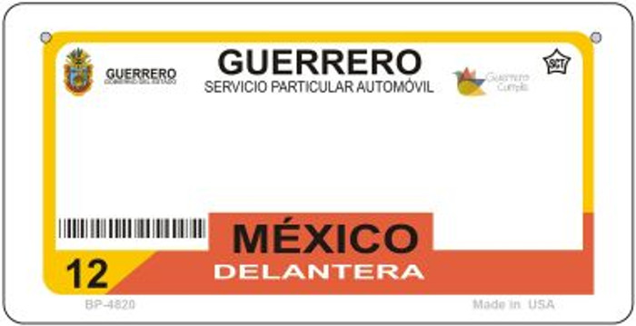 Guerrero Mexico Blank Background Novelty Metal Bicycle Plate BP-4820